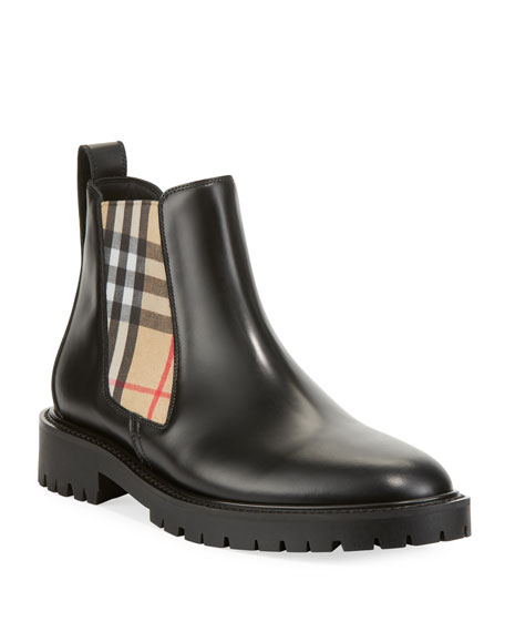 Burberry Allostock Leather/Check Gored Booties