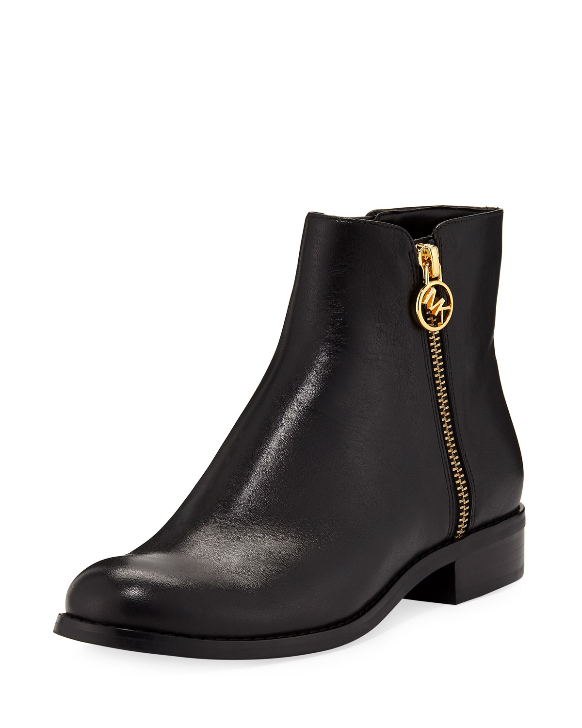 MICHAEL MICHAEL KORS JAYCIE FLAT VACHETTA LEATHER ZIP BOOTIES