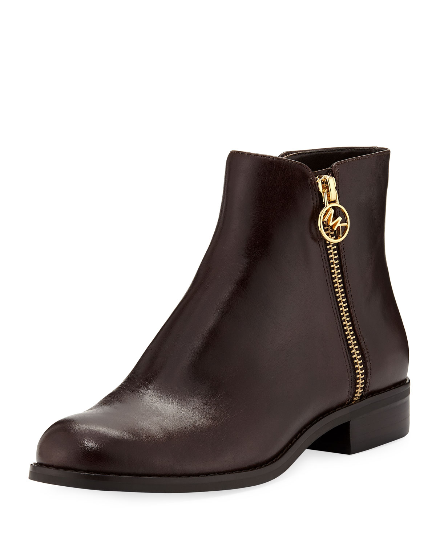 Jaycie Flat Polished Leather Zip Booties, Nutmeg Leather
