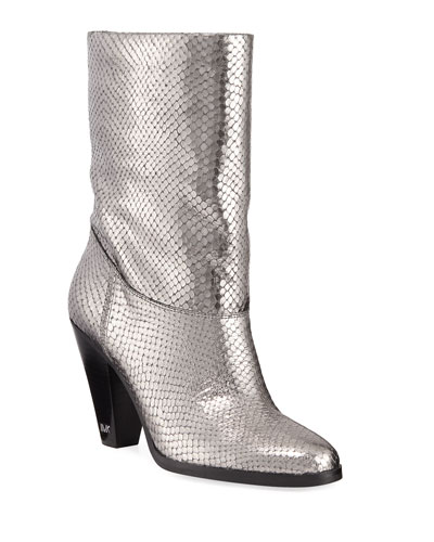 Divia Diamond Metallic Leather Mid-Calf Boots