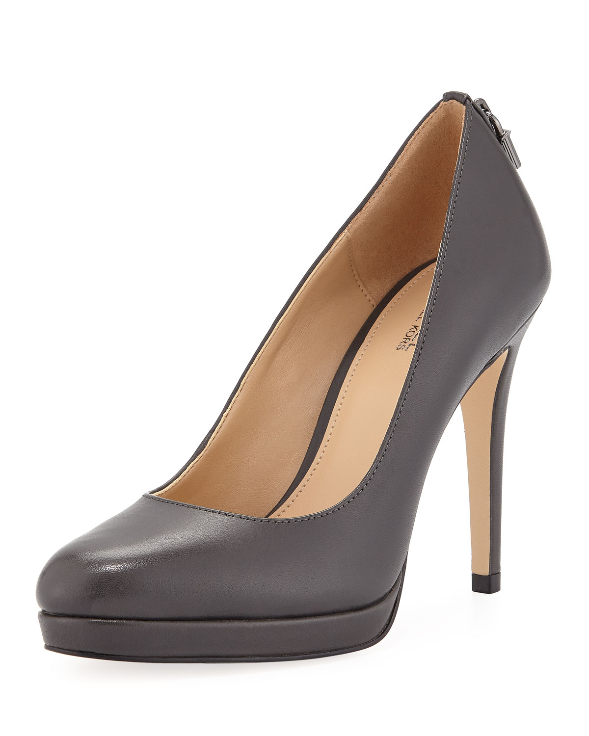 Antoinette Leather Platform Pumps With Padlock, Charcoal Leather