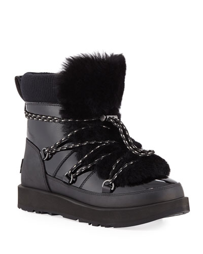 Highland Waterproof Patent/Shearling Lace-Up Boots