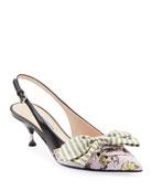 Prada Fabric & Leather Kitten-Heel Slingback Pumps with