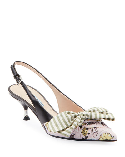 Fabric & Leather Kitten-Heel Slingback Pumps with Bow