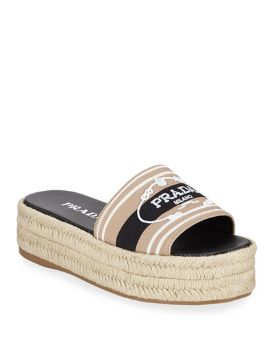 Logo Embroidered Slide Espadrilles