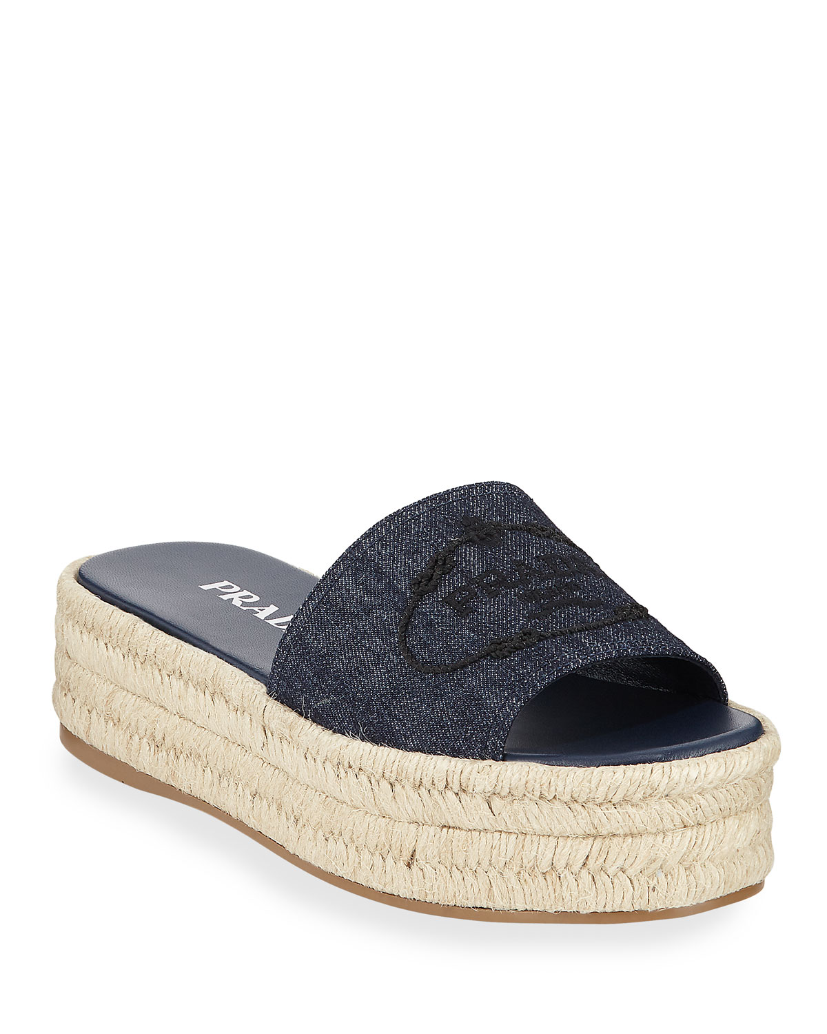 Denim Logo Espadrille Slide Sandals