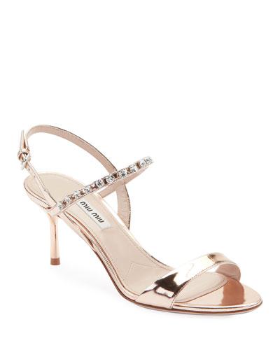 ace21244812 Quick Look. Miu Miu · Metallic Shiny Jeweled Sandals