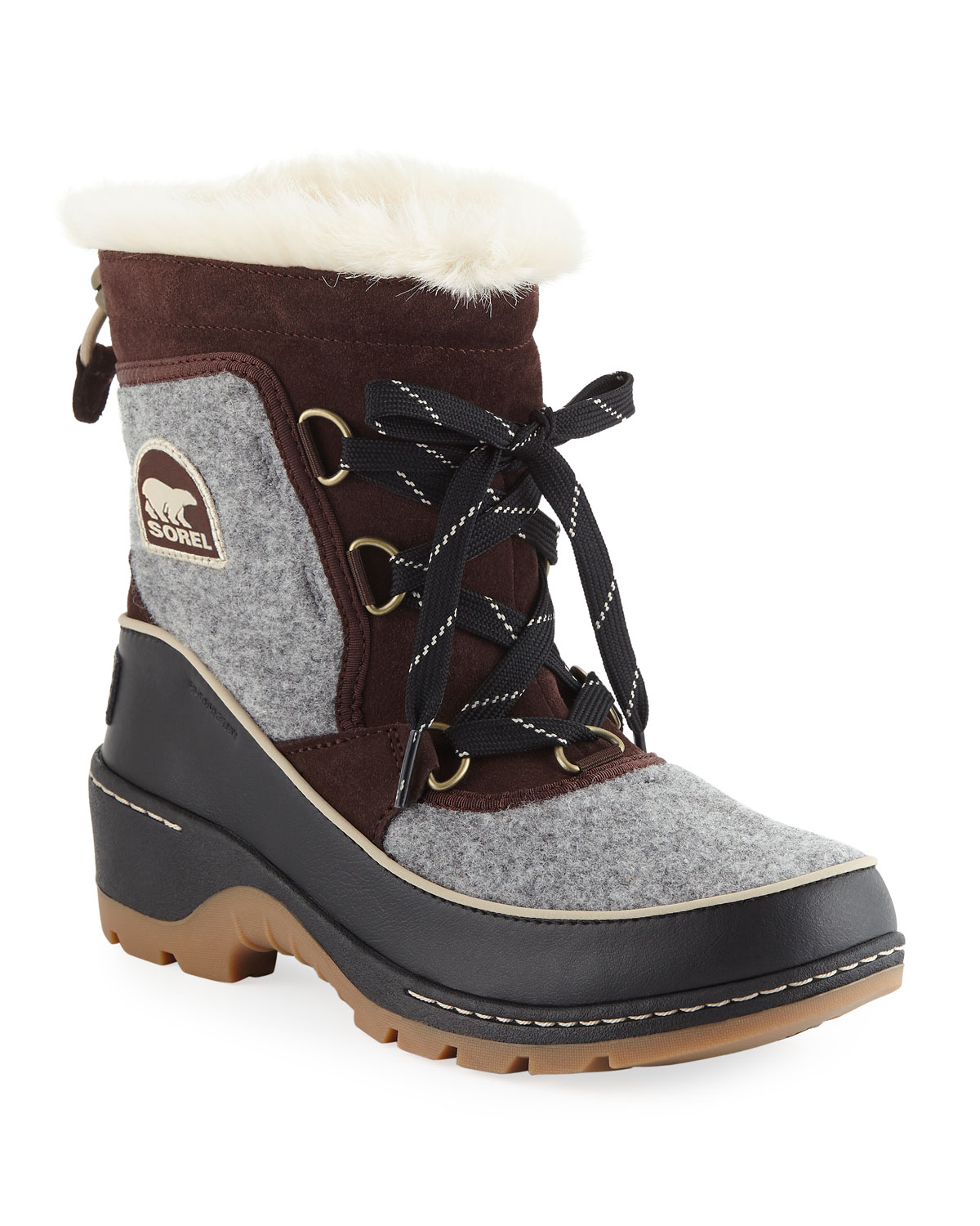 Tivoli Iii Waterproof Lace-Up Winter Boots With Faux Fur, Gray/Brown