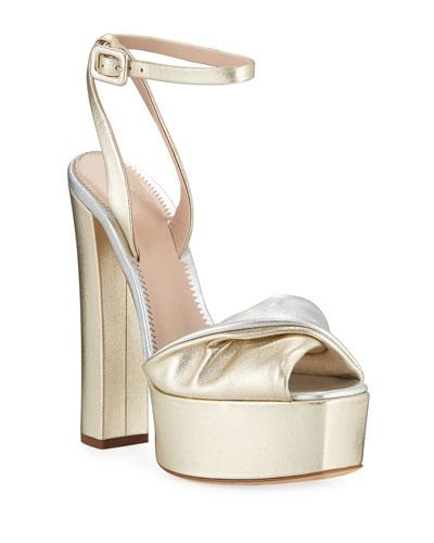 Metallic Leather Platform Sandals