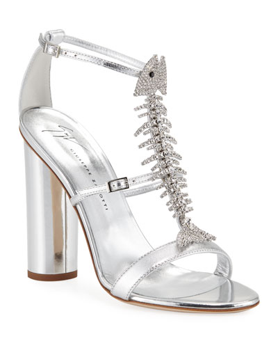 Embellished Metallic Leather Sandals