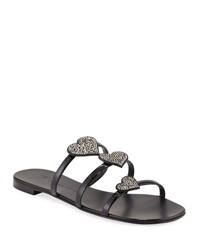 Patent Heart-Embellished Sandals