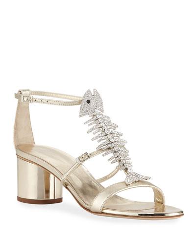 Metallic Leather Fishbone Sandals