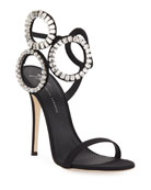 Giuseppe Zanotti Suede High Sandal with Crystals