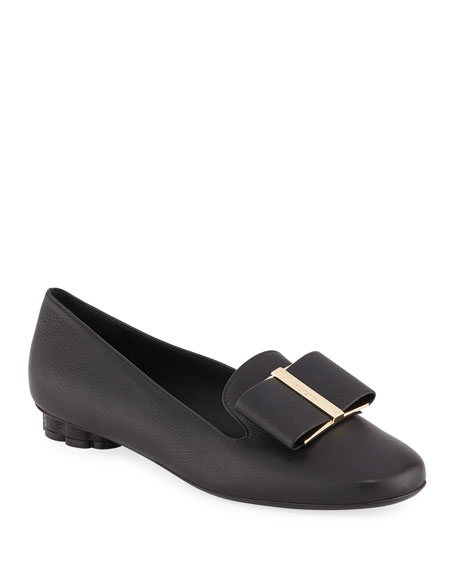 Salvatore Ferragamo Sarno Leather Bow Loafers