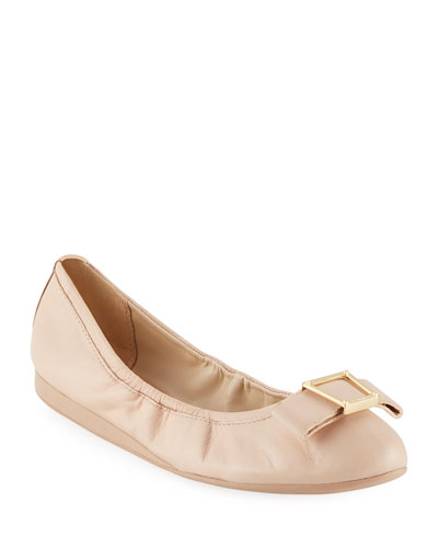 Emory Bow Ballet Flats, Nude