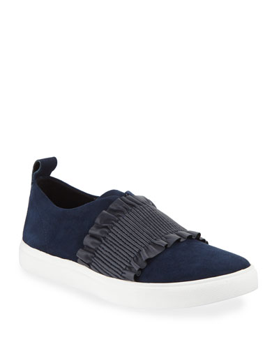 Sal Ruched Suede Slip-On Sneakers