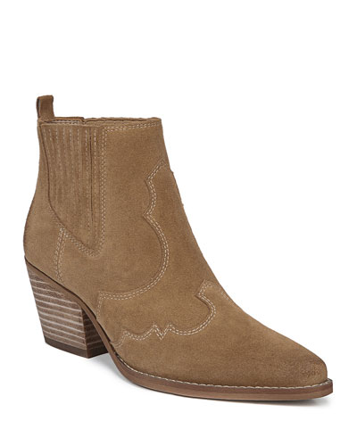 Winona Western Stitched Suede Booties