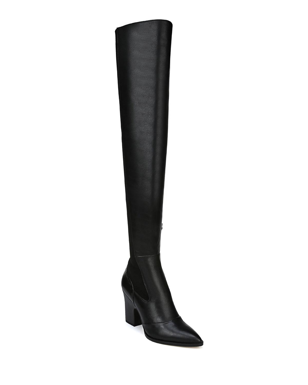 Natasha Stretch Leather Over-The-Knee Boots, Black