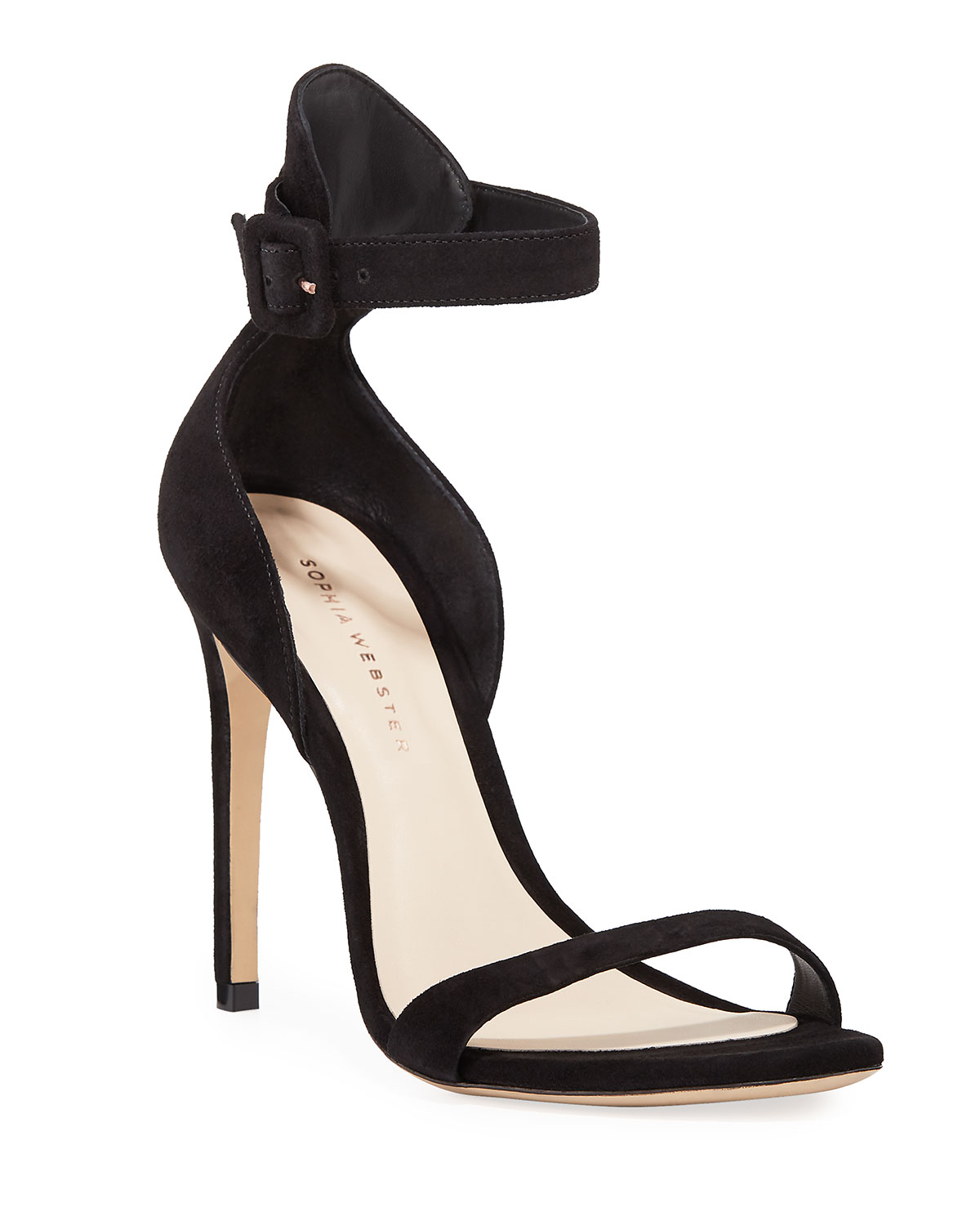 Nicole Naked High-Heel Suede Ankle-Wrap Sandals
