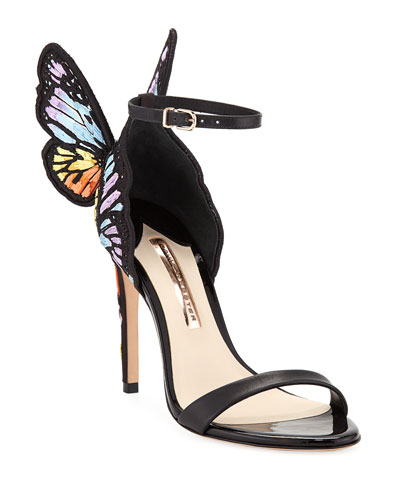 Chiara Embroidered Satin Butterfly Sandals
