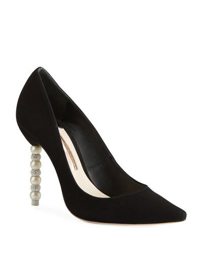 Coco Suede Ball-Heel Point-Toe Pumps