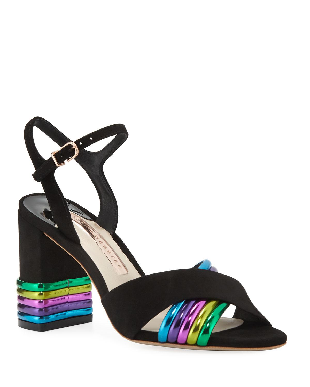 Joy MidHeel MetallicStripe Sandals