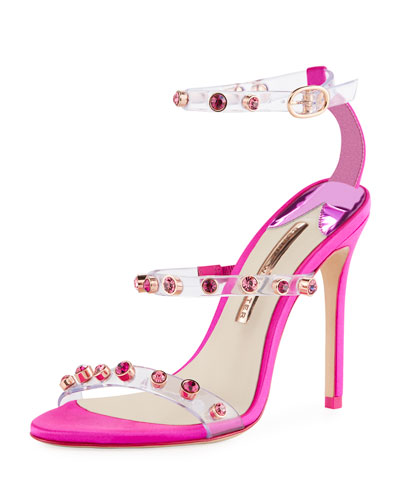 Rosalind Gem-Stud See-Through Vinyl & Satin Sandals