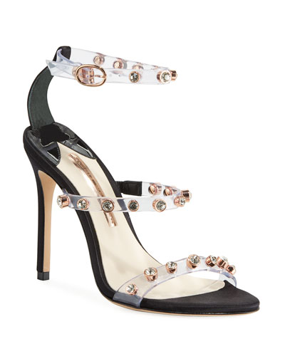 Rosalind Gem-Stud See-Through Vinyl & Suede Sandals