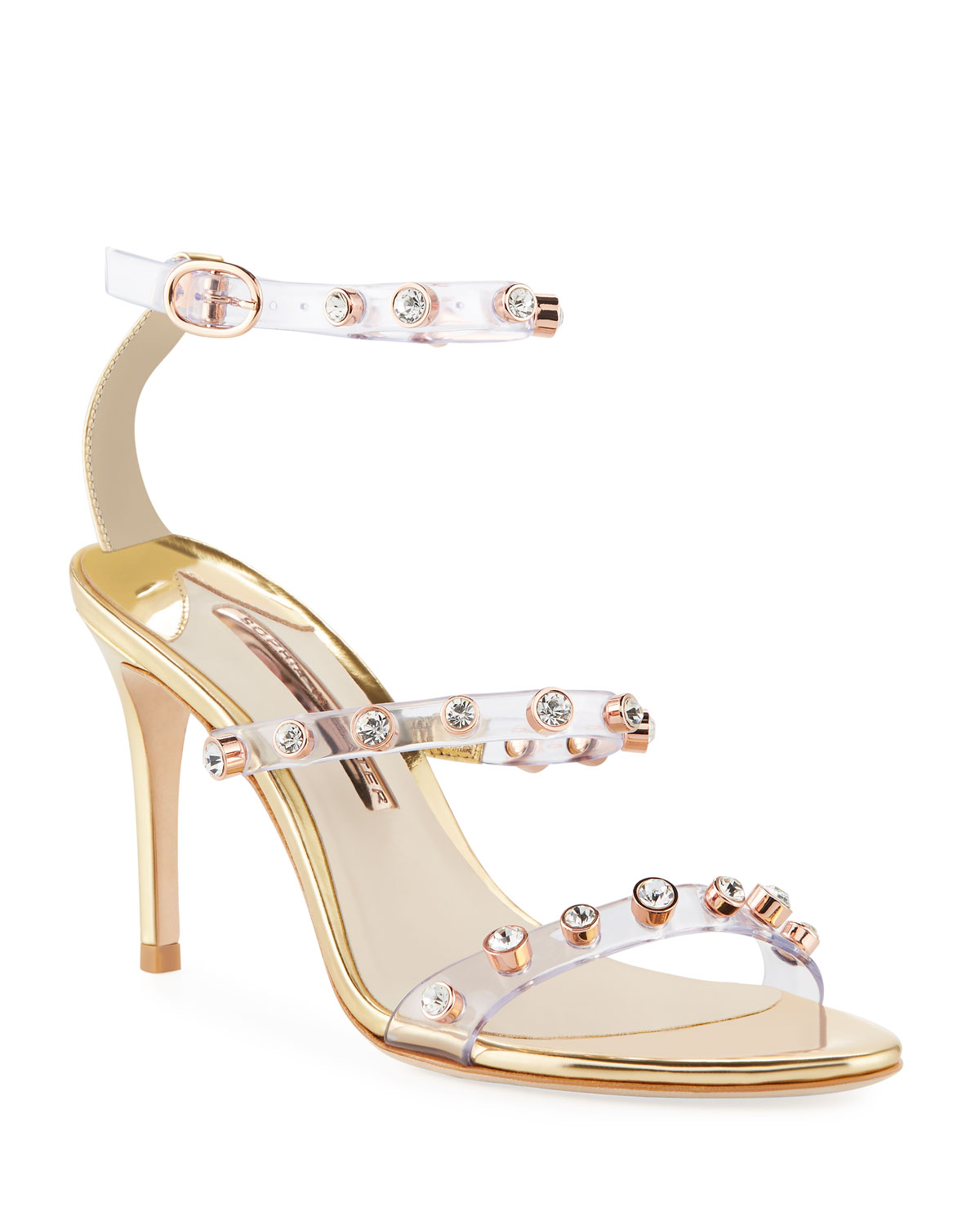Rosalind Gem-Stud Mid-Heel See-Through Vinyl & Leather Sandals in Gold/Silver