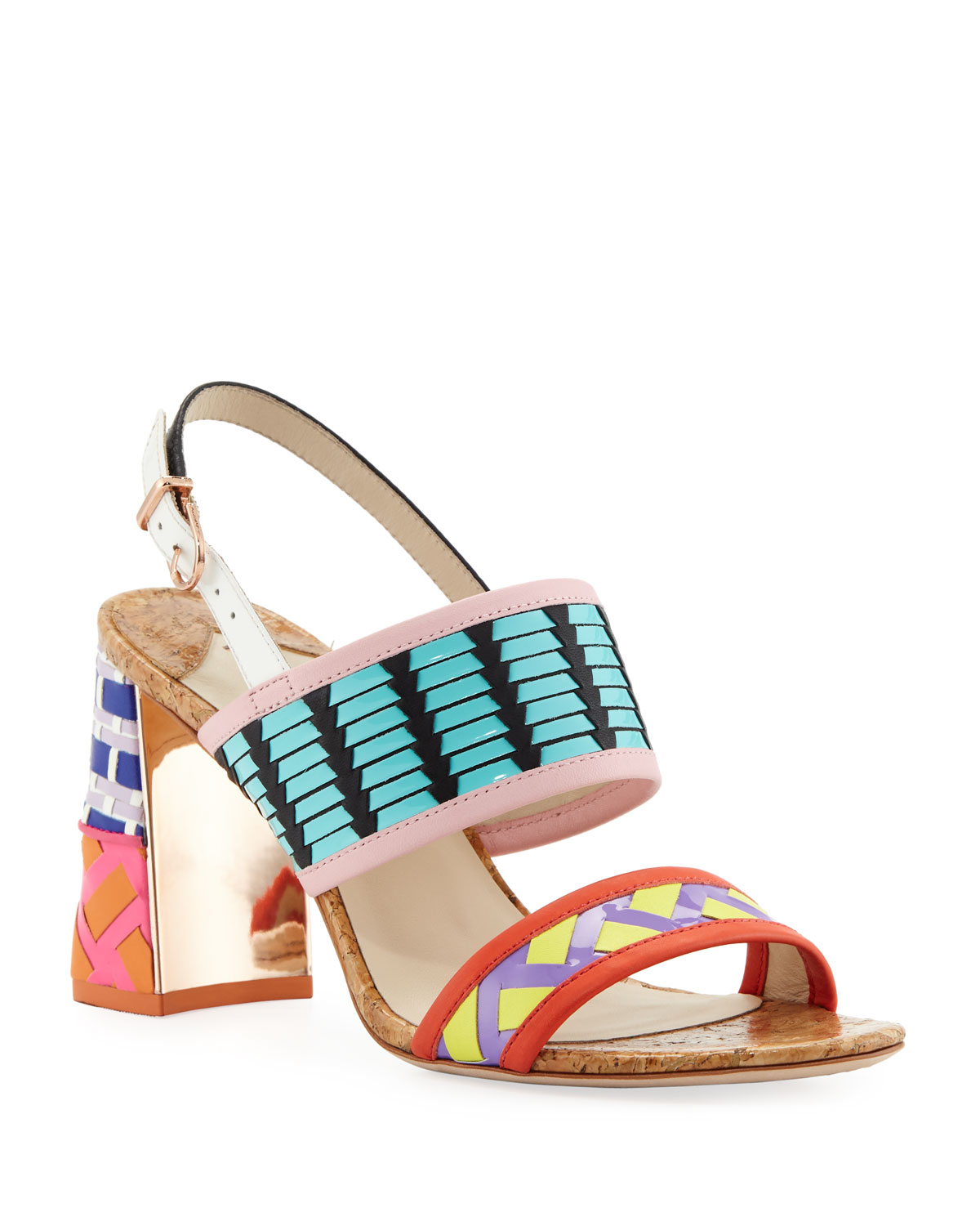 Women'S Celia Leather High-Heel Sandals in Multi Pattern
