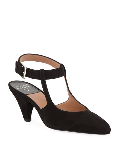 Tosca Suede Ankle-Strap Pumps