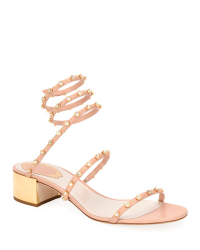 Flat Studded Corkscrew Sandals