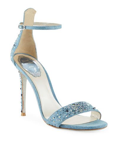 Embellished Denim Strappy Sandals