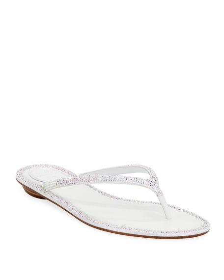Rene Caovilla Flat Crystal Thong Sandals