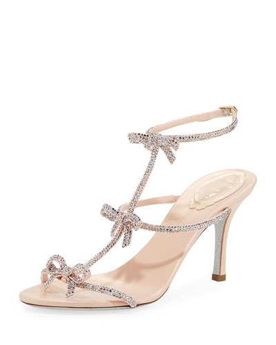 Mid-Heel T-Strap Sandal with Bows