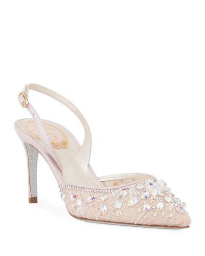 Lace Crystal Slingback Pumps