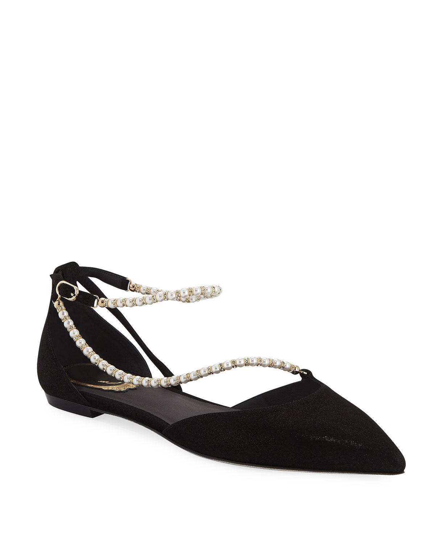 Asymmetric Pearly Ballet Flats
