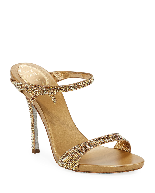 Strass Metallic Slide Sandals