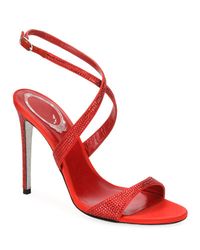 Crisscross Crystal Satin Sandals