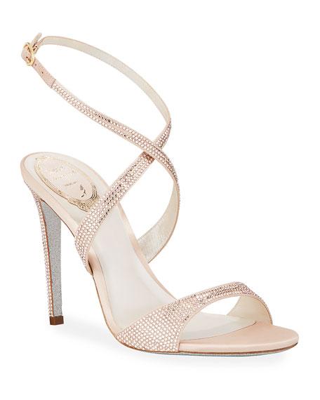 Rene Caovilla Crisscross Crystal Sandals
