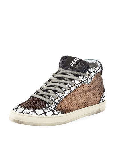 Love Platform Mixed Media Sneakers