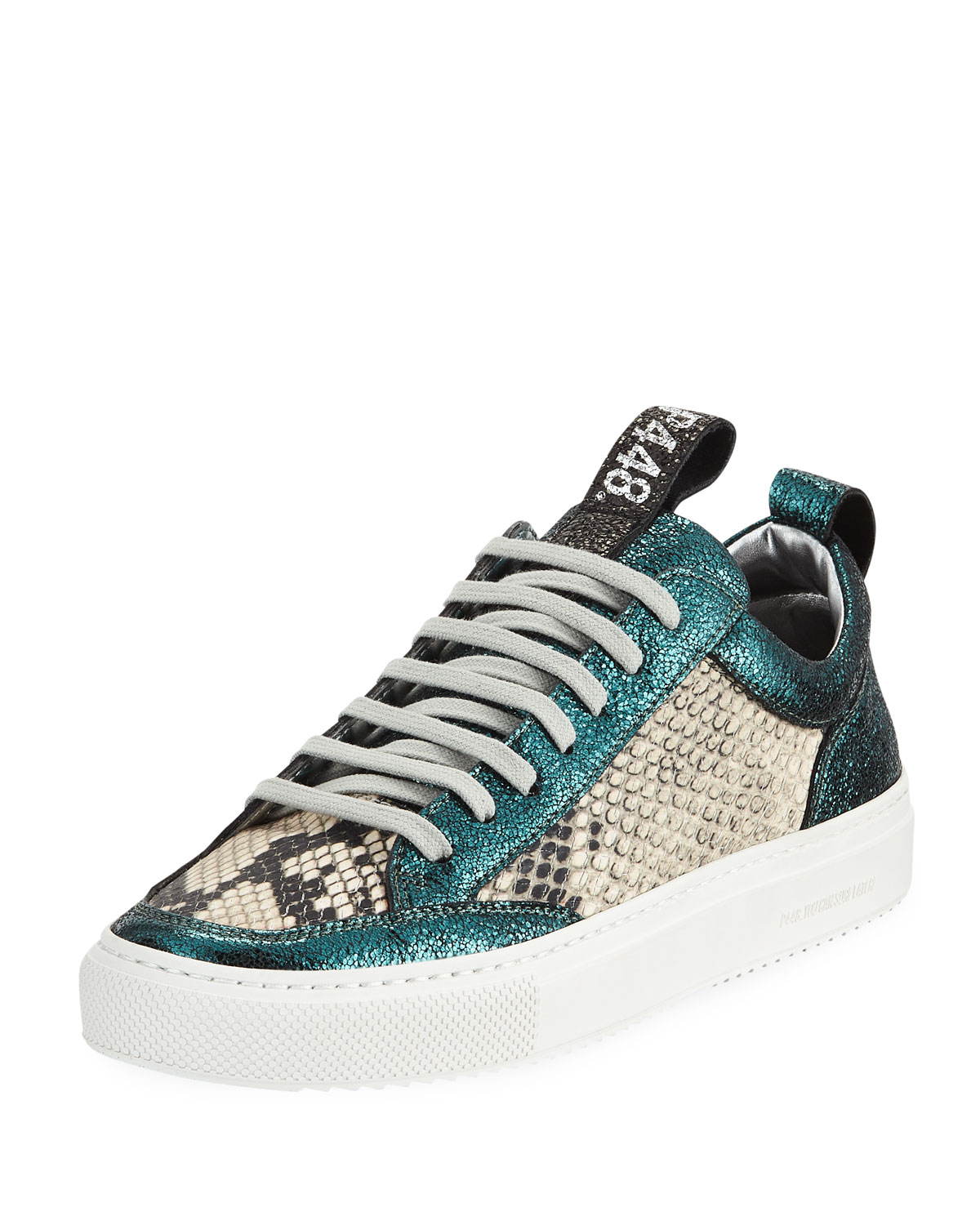 Women'S Soho Crackled & Snake-Embossed Leather Lace-Up Sneakers, White/ Blue Sparkle