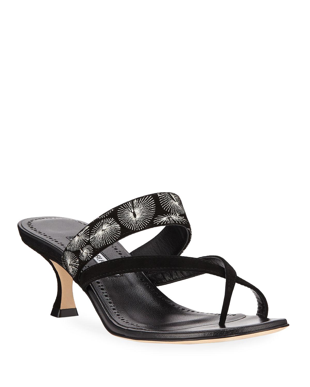 Susilla Embroidered Kitten-Heel Slide Sandals