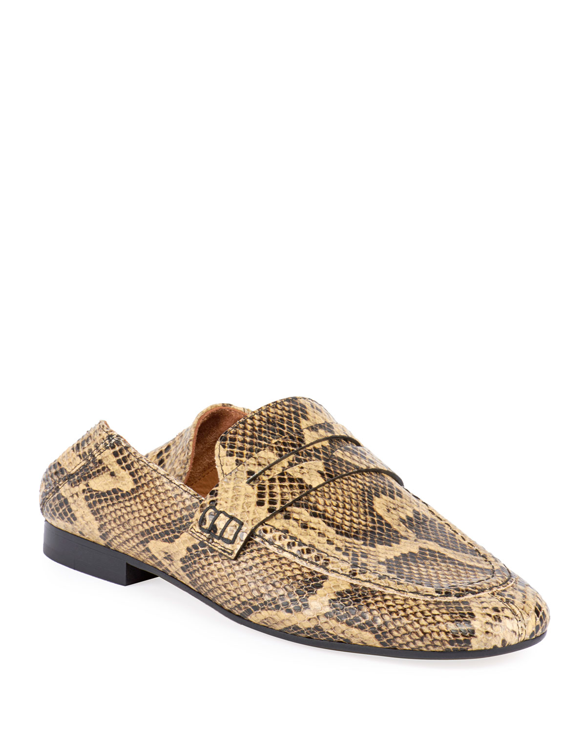 Fezzy Snake-Print Fold-Down Loafers, Neutrals