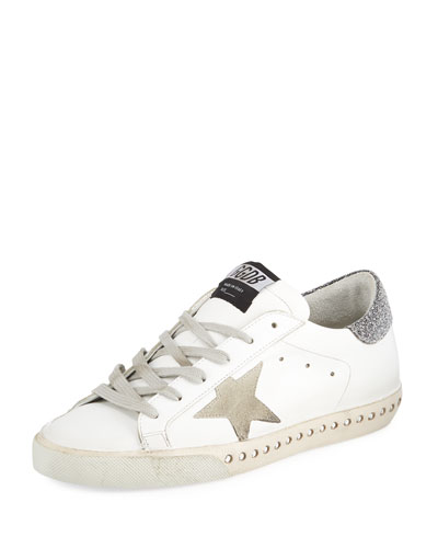 Superstar Leather Low-Top Sneakers with Crystal Base