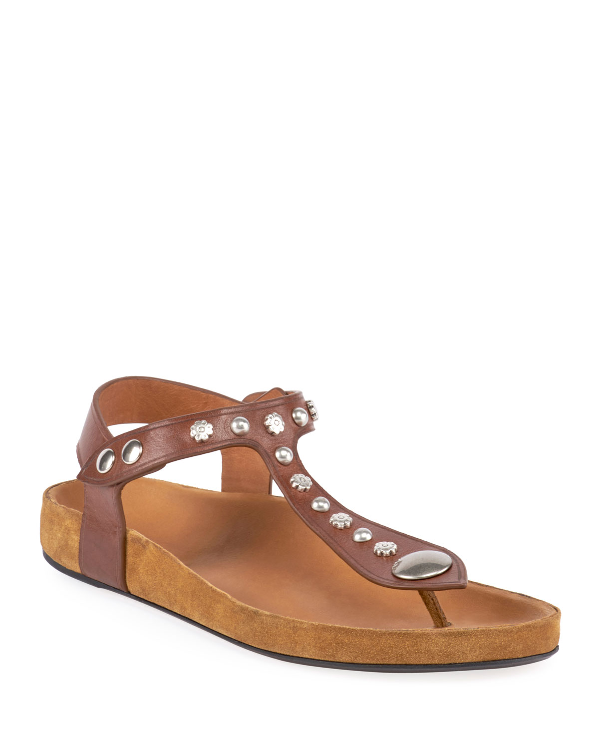 Encore Flat Studded T-Strap Sandals in Brown
