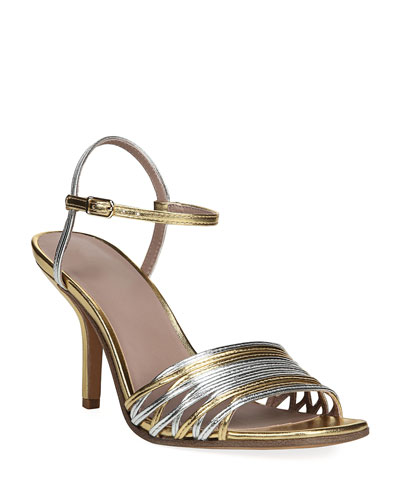 Federica Mixed Metallic Strappy Sandals