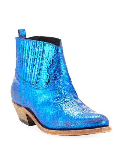 Crosby Crackled Metallic Leather Western Boots