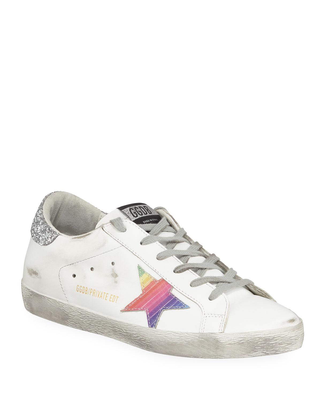 Superstar Rainbow Platform Lace-Up Sneakers, White/Rainbow