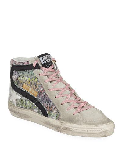 Slide High-Top Sequin Suede Sneakers